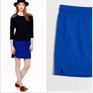 J. Crew cobalt blue shirttail wool skirt size 4